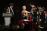 Pictured: Professor Richard B Davies (L), Vice Chancellor for Swansea University (L) and colleagues award Hillary Clinton hith an honorary degree at Swansea University Bay Campus. Saturday 14 October 2017<br /> Re: Hillary Clinton, the former US secretary of state and 2016 American presidential candidate will be presented with an honorary doctorate during a ceremony at Swansea University's Bay Campus in Wales, UK, to recognise her commitment to promoting the rights of families and children around the world.<br /> Mrs Clinton's great grandparents were from south Wales.