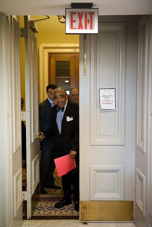 House Ways and Means Chairman Charles Rangel, D-N.Y., arrives for news conference in the Capitol on Wednesday, Sept. 10, 2008, regarding his recent request for ethics investigations into his failure to report income from a vacation in the Domincan Republic.