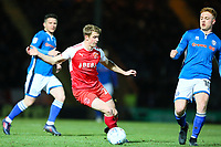 Jack Sowerby of Fleetwood Town turns away from Callum Camps of Rochdale during the Sky Bet League 1 match between Rochdale and Fleetwood Town at Spotland Stadium, Rochdale, England on 20 March 2018. Photo by Thomas Gadd.