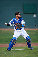 Bluefield Blue Jays catcher Andres Guerra (17) during the second game of a doubleheader against the Bristol Pirates on July 25, 2018 at Bowen Field in Bluefield, Virginia.  Bristol defeated Bluefield 5-2.  (Mike Janes/Four Seam Images)