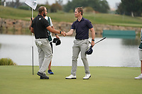 Brandon Stone (RSA) with Dean Burmester (RSA) on the 18th during Round 4 of the Portugal Masters, Dom Pedro Victoria Golf Course, Vilamoura, Vilamoura, Portugal. 27/10/2019<br /> Picture Andy Crook / Golffile.ie<br /> <br /> All photo usage must carry mandatory copyright credit (© Golffile | Andy Crook)