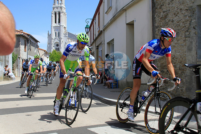 The pelethon including Quick Step's Sylvain Chavanel (FRA) pass through the town of Saint-Lumine-de-Coutais during the 3rd Stage of the 2011 Tour de France, 198k from Olonne-sur-Mere to Redon, 4th July 2011 (Photo by Eoin Clarke/NEWSFILE)