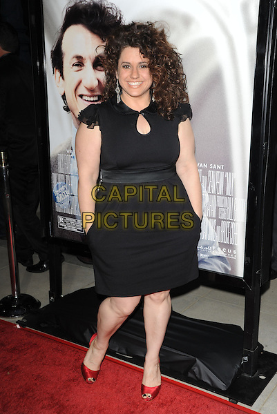 "MARISSA JARET WINOKUR.The Focus Features L.A. Premiere of ""MILK"" held at The Academy in Beverly Hills, California, USA. .November 13th, 2008                                                                     full length black dress red shoes hands in pockets .CAP/DVS.©Debbie VanStory/Capital Pictures."