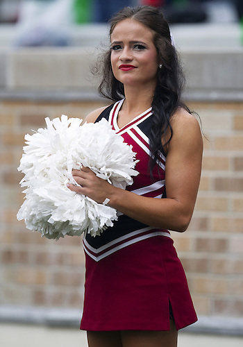 August 31, 2013:  Temple cheerleader during NCAA Football game action between the Notre Dame Fighting Irish and the Temple Owls at Notre Dame Stadium in South Bend, Indiana.  Notre Dame defeated Temple 28-6.