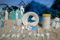 20061026 HONOLULU, HAWAI : UNITED STATES OF AMERICA   Plastic disposable items are displayed on Kahuku beach, Honolulu, Hawaii, 26th October 2006. Greenpeace are highlighting the threat that plastic poses to the world's oceans.<br /> ALEX HOFFORD