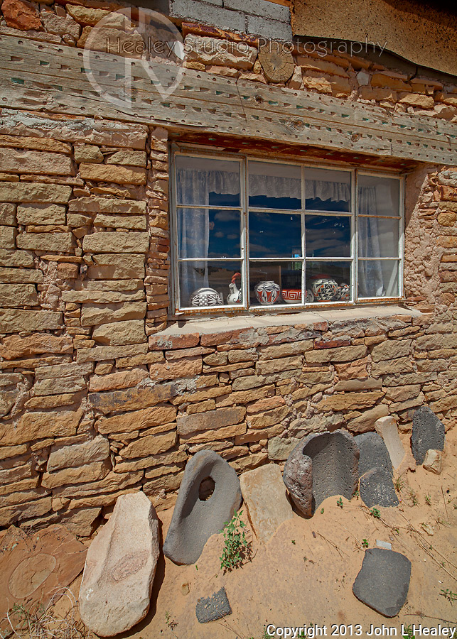 Rebecca Lucario's Ancestral Studio with grinding stones