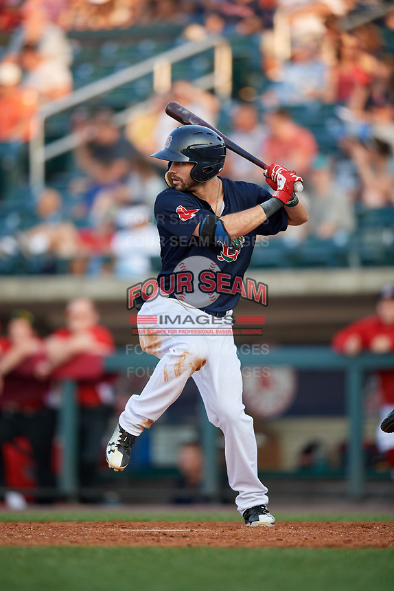 Lowell Spinners right fielder Lane Milligan (64) at bat during a game against the Vermont Lake Monsters on August 25, 2018 at Edward A. LeLacheur Park in Lowell, Massachusetts.  Vermont defeated Lowell 4-3.  (Mike Janes/Four Seam Images)