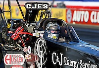 Nov 7, 2013; Pomona, CA, USA; NHRA top fuel dragster driver Bob Vandergriff Jr during qualifying for the Auto Club Finals at Auto Club Raceway at Pomona. Mandatory Credit: Mark J. Rebilas-