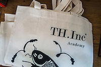 Branded cloth bags in the Nala Designs' TH.inc Academy in Bangsar, Kuala Lumpur, Malaysia, on 18 August 2015. Nala Designs, by founder and designer Lisette Scheers, is inspired by Malaysia's melting pot of Chinese, Malay and Indian cultures. Photo by Suzanne Lee for Monocle