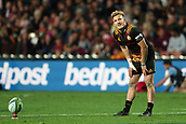 June 3rd 2017, FMG Stadium, Waikato, Hamilton, New Zealand; Super Rugby; Chiefs versus Waratahs;  Chiefs fullback Damian McKenzie smiles while lining up a shot at goal during the Super Rugby rugby match