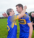 Newmarket players Eoin Hayes and Stephen Kelly celebrate their win over Sixmilebridge in the Clare Champion Cup final at Clonlara. Photograph by John Kelly.