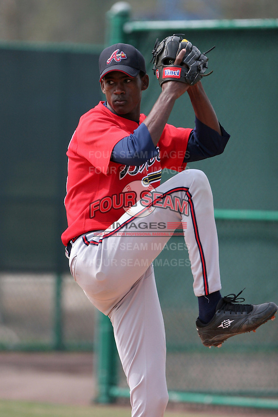 Atlanta Braves minor leaguer Carlos Sencion during Spring Training at Disney's Wide World of Sports on March 14, 2007 in Orlando, Florida.  (Mike Janes/Four Seam Images)