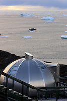 Aluminium  Eco - igloo overlooking icebergs in Disco Bay, Greenland. Part of the Royal Arctic Hotel in Ilulissat.