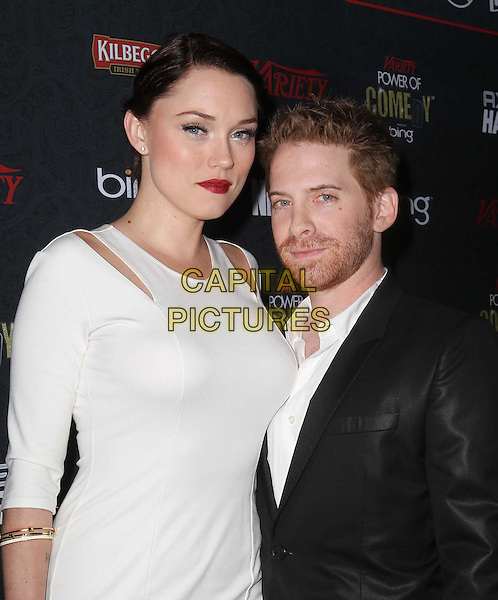 Clare Grant, Seth Green.3rd Annual Variety Power of Comedy Held At Avalon Hollywood, Hollywood, California, USA, .17th November 2012..half length married couple husband wife tall shirt white dress cut out black suit .CAP/ADM/KB.©Kevan Brooks/AdMedia/Capital Pictures.