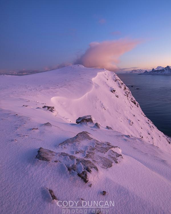 Winter mountain landscape on Røren, Moskenesøy, Lofoten Islands, Norway