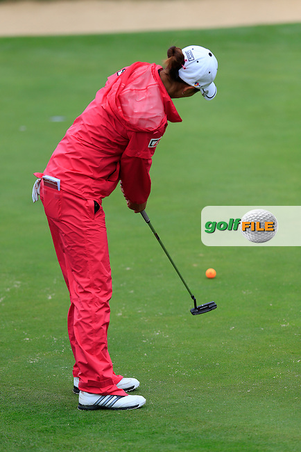 Chella Choi (KOR) putts on the 5th green during Saturday's Round 3 of The 2016 Evian Championship held at Evian Resort Golf Club, Evian-les-Bains, France. 17th September 2016.<br /> Picture: Eoin Clarke | Golffile<br /> <br /> <br /> All photos usage must carry mandatory copyright credit (&copy; Golffile | Eoin Clarke)