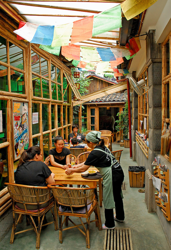 Restaurant area at Sim's Cozy Guesthouse, Chengdu, China.  A haven for independent travelers,  a jump-off point for Eastern China and Tibet.
