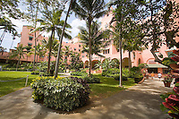 Royal Hawaiian Hotel, seen from garden, Waikiki, Hawaii