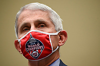 Anthony Fauci, director of the National Institute of Allergy and Infectious Diseases, wears a Washington Nationals protective mask during a House Select Subcommittee on the Coronavirus Crisis hearing in Washington, D.C., U.S., on Friday, July 31, 2020. Trump administration officials are set to defend the federal government's response to the coronavirus crisis at the hearing hosted by a House panel calling for a national plan to contain the virus. Photographer: Erin Scott/Bloomberg/Pool<br /> Credit: Erin Scott / Pool via CNP /MediaPunch
