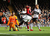 9th February 2019, Craven Cottage, London, England; EPL Premier League football, Fulham versus Manchester United; Anthony Martial of Manchester United taking a shot but its blocked by goalkeeper Sergio Rico of Fulham