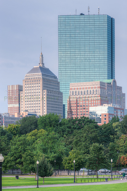 The John Hancock Building and part of Boston skyline as viewed from the Boston Common