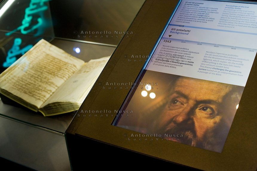 "La mostra sui segreti del Vaticano apre nei Musei Capitolini. Un evento storico senza precedenti con 100 documenti originali provenienti dall'archivio Segreto Vaticano..Gli atti del processo di Galileo Galilei..""Lux in Arcana – The Vatican Secret Archives Reveals Itself"" exhibition, opens in the splendid halls of Rome's Capitoline Museums. An unprecedent cultural and media event: 100 original documents, preserved for 400 years in the papal archives, have crossed the boundaries of Vatican City for the first time ever, in order to be put on display at the Capitoline Museums in Rome. .Proceedings of the trial of Galileo Galilei."