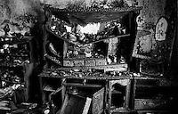 Balkan War: Burned Kitchen after a granate attack, Biograd, Croatia, 1993