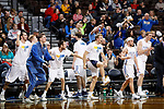 SIOUX FALLS, SD - MARCH 9:  Players on the Briar Cliff bench celebrate a basket to go up 32-10 in the first half over St. Thomas at the 2018 NAIA DII Men's Basketball Championship at the Sanford Pentagon in Sioux Falls. (Photo by Dick Carlson/Inertia)