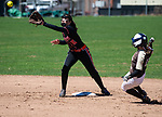 THOMASTON,  CT-041619JS08- Thomaston's Caitlin Magnuson (13) safely slide into second base in front of a tag by Watertown's Morgan Hodorski (10) during their game Tuesday at Thomaston High School.<br />  Jim Shannon Republican American