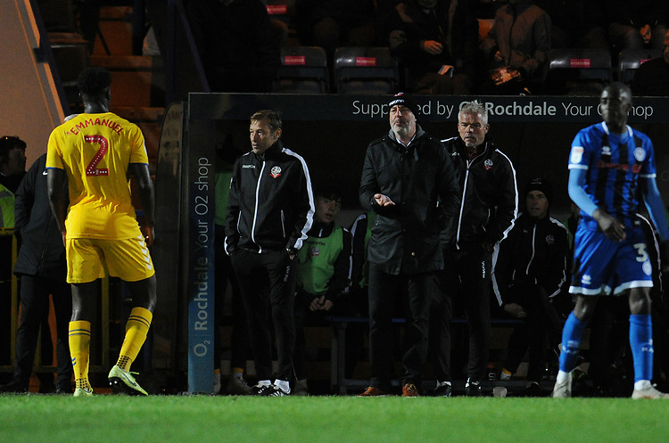 Bolton Wanderers manager Keith Hill shouts instructions to his team from the dug-out <br /> <br /> Photographer Kevin Barnes/CameraSport<br /> <br /> EFL Leasing.com Trophy - Northern Section - Group F - Rochdale v Bolton Wanderers - Tuesday 1st October 2019  - University of Bolton Stadium - Bolton<br />  <br /> World Copyright © 2018 CameraSport. All rights reserved. 43 Linden Ave. Countesthorpe. Leicester. England. LE8 5PG - Tel: +44 (0) 116 277 4147 - admin@camerasport.com - www.camerasport.com