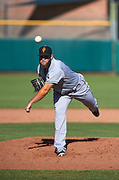 Surprise Saguaros pitcher Ryne Slack (50) delivers a pitch during an Arizona Fall League game against the Scottsdale Scorpions on October 22, 2015 at Scottsdale Stadium in Scottsdale, Arizona.  Surprise defeated Scottsdale 7-6.  (Mike Janes/Four Seam Images)