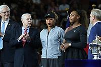 Serena Williams Naomi Osaka<br /> US Open Tennis 9-8-2018<br /> Photo by John Barrett/PHOTOlink