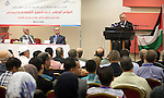 Palestinian Prime Minister Salam Fayyad speaks during the conference of support national economic and social rights, in the West Bank city of Ramallah, Oct. 06, 2012. Photo by Mustafa Abu Dayeh