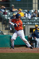 Jacob Campbell (9) of the Illinois Fighting Illini at bat against the West Virginia Mountaineers at TicketReturn.com Field at Pelicans Ballpark on February 23, 2020 in Myrtle Beach, South Carolina. The Fighting Illini defeated the Mountaineers 2-1.  (Brian Westerholt/Four Seam Images)