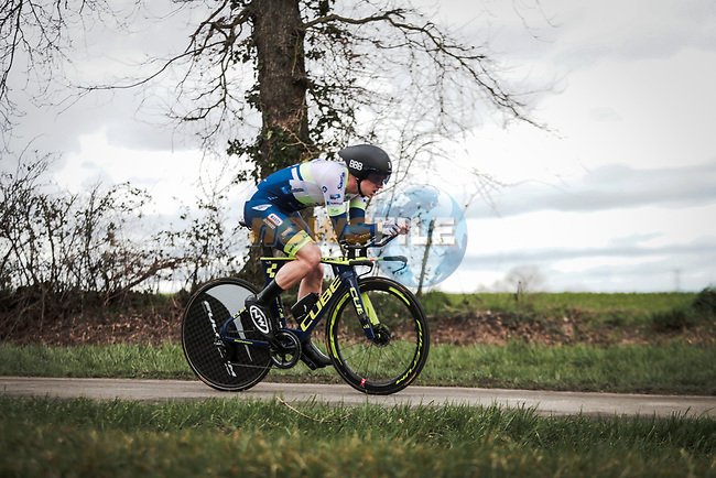 Aime De Gendt (BEL) Circus-Wanty Gobert in action during Stage 4 of the 78th edition of Paris-Nice 2020, and individual time trial running 15.1km around Saint-Amand-Montrond, France. 11th March 2020.<br /> Picture: ASO/Fabien Boukla   Cyclefile<br /> All photos usage must carry mandatory copyright credit (© Cyclefile   ASO/Fabien Boukla)