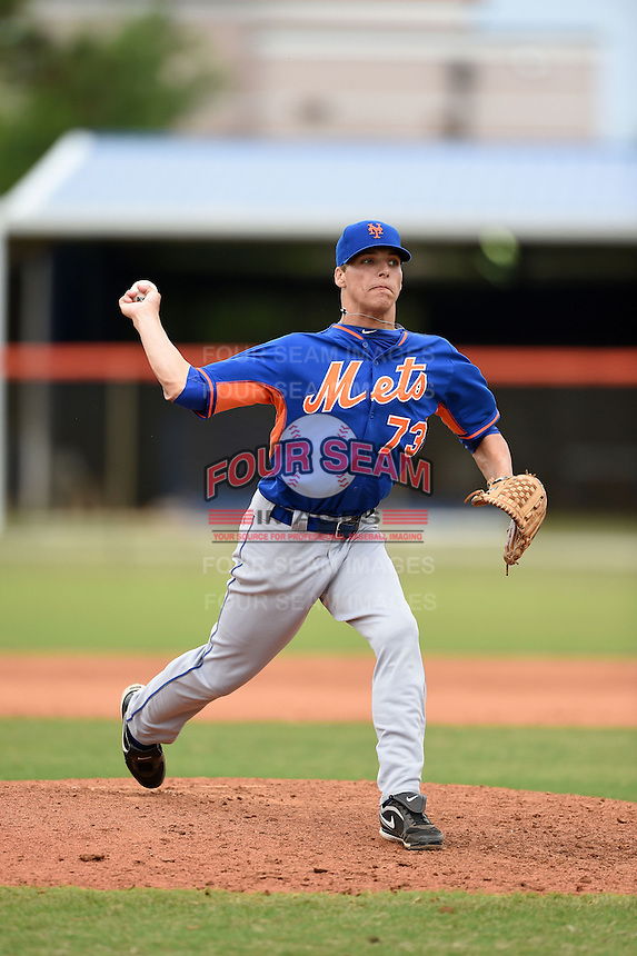 New York Mets pitcher Robert Coles (73) during a minor league spring training game against the St. Louis Cardinals on March 27, 2014 at the Port St. Lucie Training Complex in Port St. Lucie, Florida.  (Mike Janes/Four Seam Images)