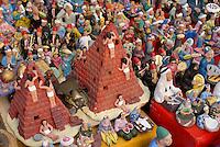 EGYPT Cairo, bazaar in Khan el Khalili , souvenir shop / AEGYPTEN Kairo Cairo, Basar im Stadtteil Khan el Khalili, Souvenir Laden fuer Touristen, Troedel made in China