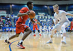 January 11, 2017:  Fresno State guard, Jaron Hopkins #1, drives the baseline during the NCAA basketball game between the Fresno State Bulldogs and the Air Force Academy Falcons, Clune Arena, U.S. Air Force Academy, Colorado Springs, Colorado.  Air Force defeats Fresno State 81-72.
