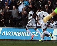 Saturday, 15 March 2014<br /> Pictured: Roland Lamah of Swansea celebrating his opening goal.<br /> Re: Barclay's Premier League, Swansea City FC v West Bromwich Albion at the Liberty Stadium, south Wales, UK.