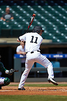 Jonathan Pryor (11) of the Wake Forest Demon Deacons at bat against the Miami Hurricanes in Game Nine of the 2017 ACC Baseball Championship at Louisville Slugger Field on May 26, 2017 in Louisville, Kentucky. The Hurricanes defeated the Demon Deacons 5-2. (Brian Westerholt/Four Seam Images)