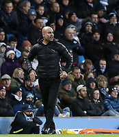 Manchester City manager Josep Guardiola reacts<br /> <br /> Photographer Rich Linley/CameraSport<br /> <br /> UEFA Champions League Group F - Manchester City v TSG 1899 Hoffenheim - Wednesday 12th December 2018 - The Etihad - Manchester<br />  <br /> World Copyright © 2018 CameraSport. All rights reserved. 43 Linden Ave. Countesthorpe. Leicester. England. LE8 5PG - Tel: +44 (0) 116 277 4147 - admin@camerasport.com - www.camerasport.com