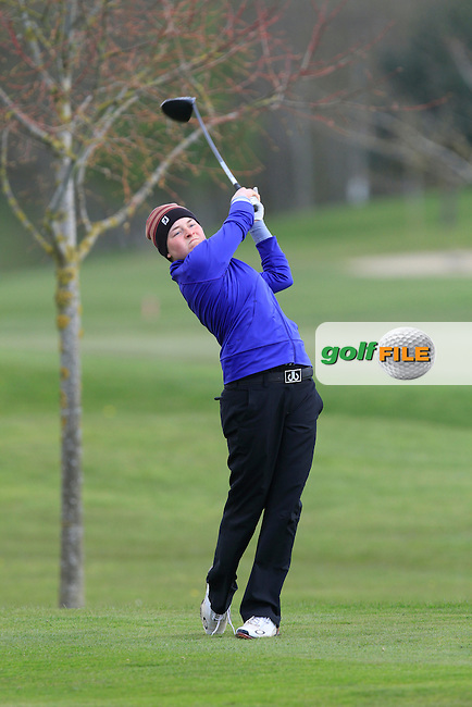 Katie Aherne (Waterford Castle) on the 13th tee during Round 1 of The Irish Girls Open Strokeplay Championship in Roganstown Golf Club on Saturday 18th April 2015.<br />