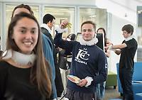 Occidental College Spanish Professor Felisa Guillén and Associate Director, Center for Digital Liberal Arts Christopher Gilman organize presentations done by students as part of their digital humanities project. Afterward, they wore ruffled collars to be in character and look like Spanish writer Miguel de Cervantes, whose representation in movies was the subject of their project.<br /> Dec. 5, 2017 in the Global Forum of Johnson Hall.<br /> (Photo by Marc Campos, Occidental College Photographer)