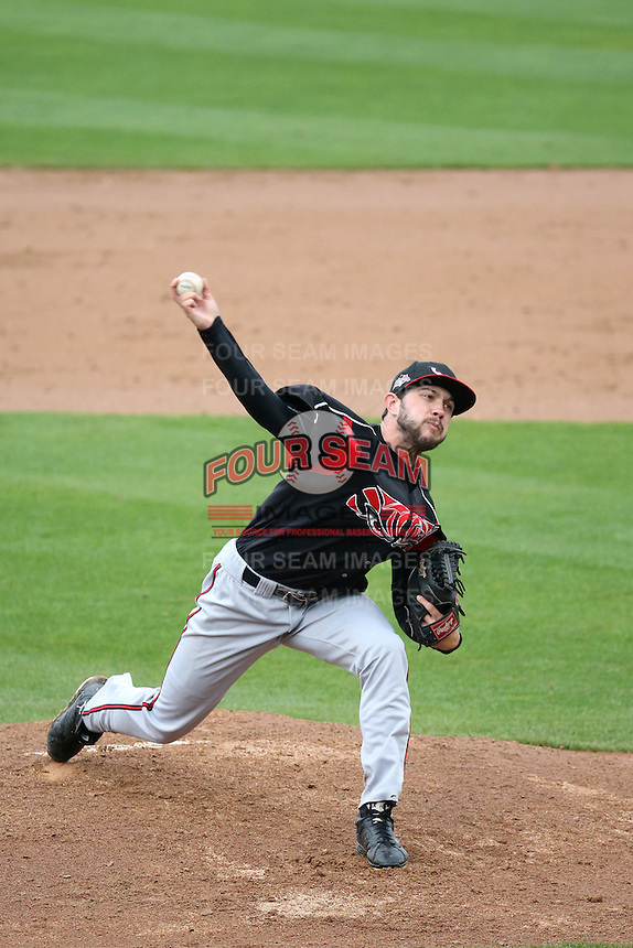 Chris Huffman (8) of the Lake Elsinore Storm pitches against the Rancho Cucamonga Quakes at LoanMart Field on April 10, 2016 in Rancho Cucamonga, California. Lake Elsinore defeated Rancho Cucamonga, 7-6. (Larry Goren/Four Seam Images)