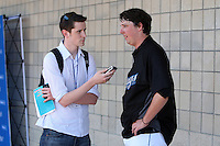 Toronto Blue Jays Deck McGuire #72 does an interview during a Spring Training game vs the Detroit Tigers at Florida Auto Exchange Stadium in Dunedin, Florida;  February 26, 2011.  Detroit defeated Toronto 4-0.  Photo By Mike Janes/Four Seam Images