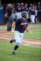 Timmy Richards (13) of the Cal State Fullerton Titans runs to first base as he watches his home run during a game against the Wichita State Shockers at Goodwin Field on March 13, 2016 in Fullerton, California. Cal State Fullerton defeated Wichita State, 7-1. (Larry Goren/Four Seam Images)