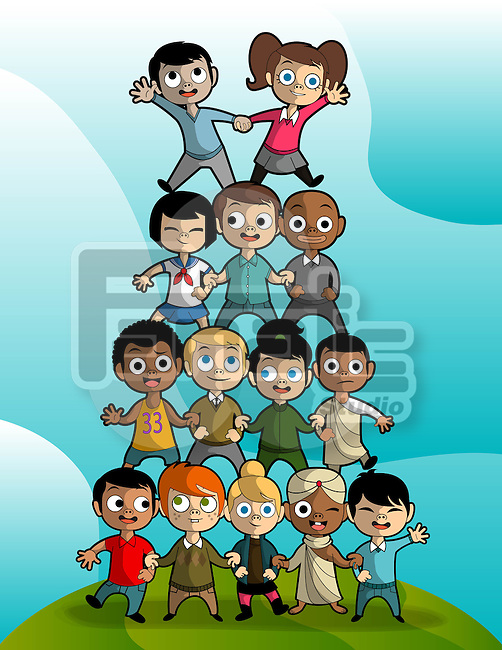 Illustration of multi ethnic children forming pyramid