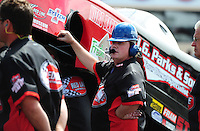 Jul. 31, 2011; Sonoma, CA, USA; A crew member for NHRA funny car driver Jeff Diehl during the Fram Autolite Nationals at Infineon Raceway. Mandatory Credit: Mark J. Rebilas-
