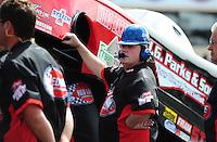 Jul. 31, 2011; Sonoma, CA, USA; A crew member for NHRA funny car driver Jeff Diehl during the Fram Autolite Nationals at Infineon Raceway. Mandatory Credit: Mark J. Rebilas-