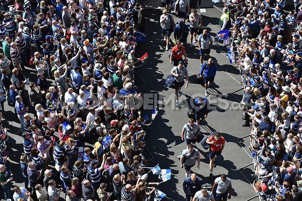 The Bath Rugby team make their way to the stadium, surrounded by supporters. The Clash, Aviva Premiership match, between Bath Rugby and Leicester Tigers on April 8, 2017 at Twickenham Stadium in London, England. Photo by: Patrick Khachfe / Onside Images